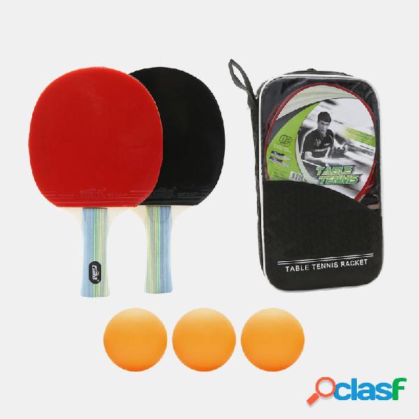 2 pcs raquete de tênis de mesa raquete de dupla face espinhas em conjunto de raquete de raquete de raquete de ping pong de cabo curto longo