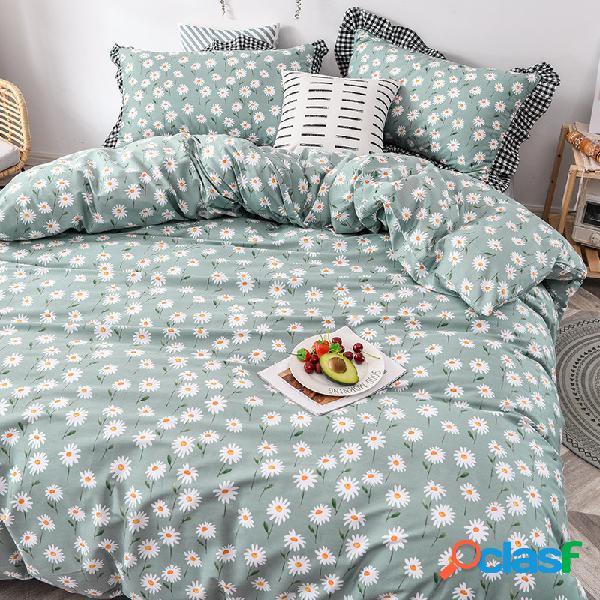3/4 unidades / conjunto 100% algodão daisy floral retro xadrez algodão capa de colcha conjunto de lençóis estilo coreano