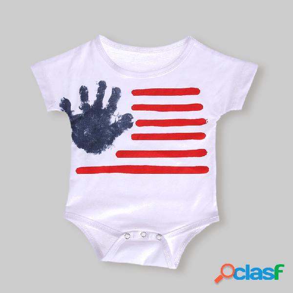 Dia da independência do bebê imprimir macacão casual de manga curta para 6-24m