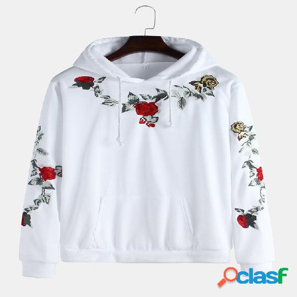 Mens breve estilo floral bordado muff pocket hoodies de manga comprida