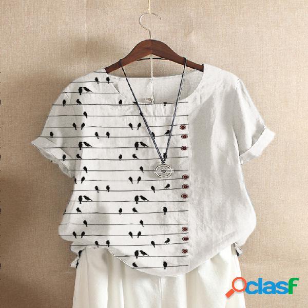 T-shirt de patchwork de manga curta com estampa de listras de pássaros para mulheres
