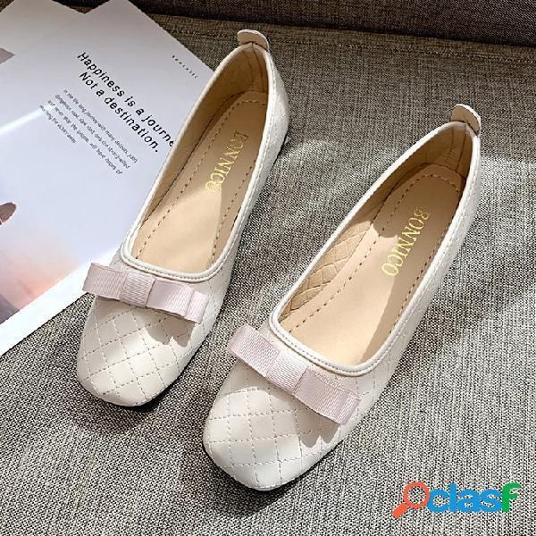 Tamanhos grandes mulheres bow decor sapatos de cor sólida
