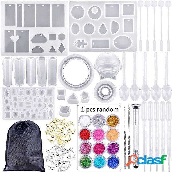 83 unidades / conjunto silicone molde para resina silicone resina uv diy argila epoxy resina moldes e ferramentas para fundição conjunto de ferramentas com armazenamento bolsa para jóias