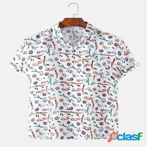 Desenhos animados masculinos com estampa de legumes no peito manga curta camisa