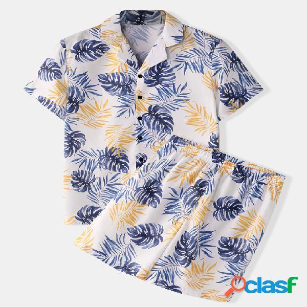 Pijama masculino floral estampado tropical soft pijama de seda artificial com tops de manga curta