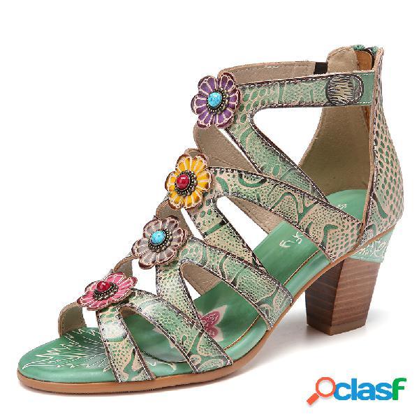 Socofy bohemian flower decro leather beading snake padrão sandálias de salto confortável de salto alto
