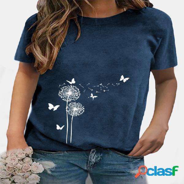 T-shirt feminina casual com estampa de borboletas de manga curta e decote em o
