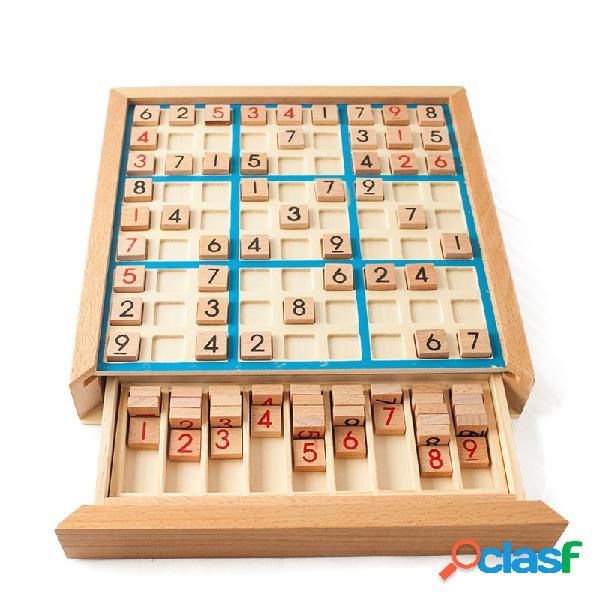 Jogo de palácio de sudoku de madeira nove jogo alunos de xadrez pensando crianças jogo de puzzle brinquedo tabuleiro de xadrez