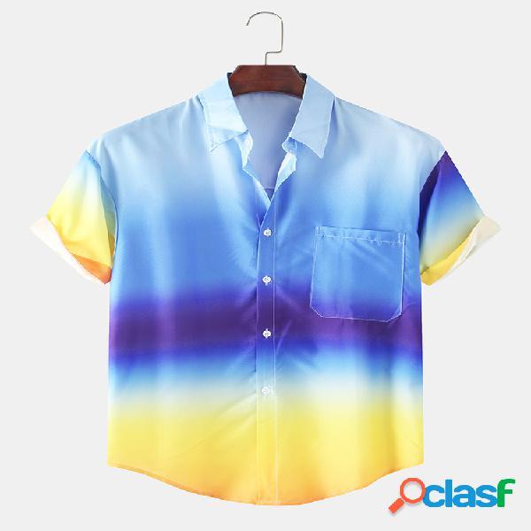 Mens azul rosa amarelo gradiente cor impresso casual manga curta camisa