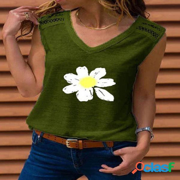 Camiseta de alças casuais com estampa floral sem mangas com decote em V para mulheres