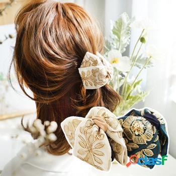 Estilo palácio francês retro hairpin bordado flor tecido agarre grampo lindo elegante feminino hairpin