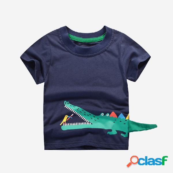 Menino dos desenhos animados do crocodilo impressão verão manga curta casual t-shirt para 2-8a