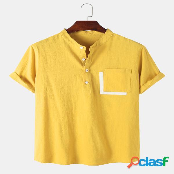 Mens designer bolso cor sólida 100% algodão casual respirável henley camisa