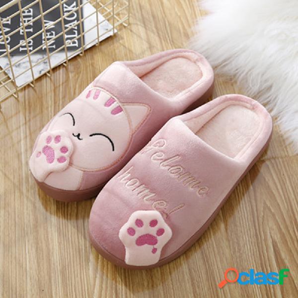 Mulheres de tamanhos grandes chinelos bonitos de decoração de gatos