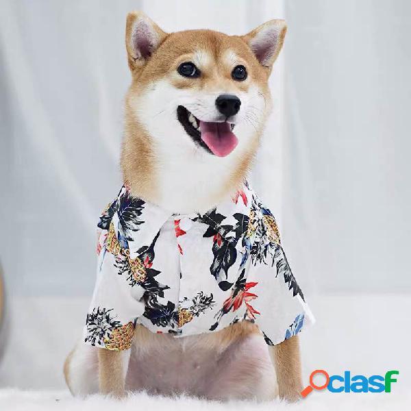 Roupas havaianas para animais de estimação planta flor de estimação camisa pring e desgaste do verão fino cachorro gato camisas