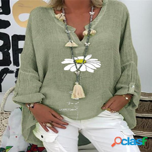 Blusa de manga comprida com estampa floral margarida com decote em v