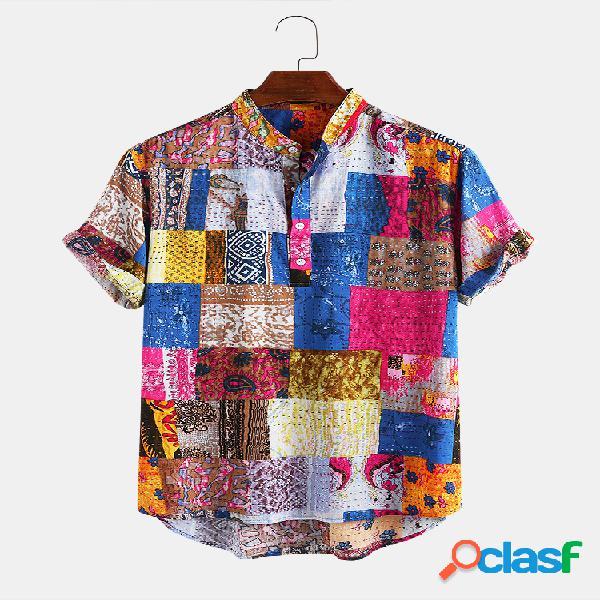 Homens algodão totem étnico impresso casual casual camisa