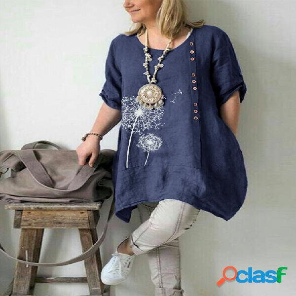 Blusa com estampa floral casual plus tamanho feminino