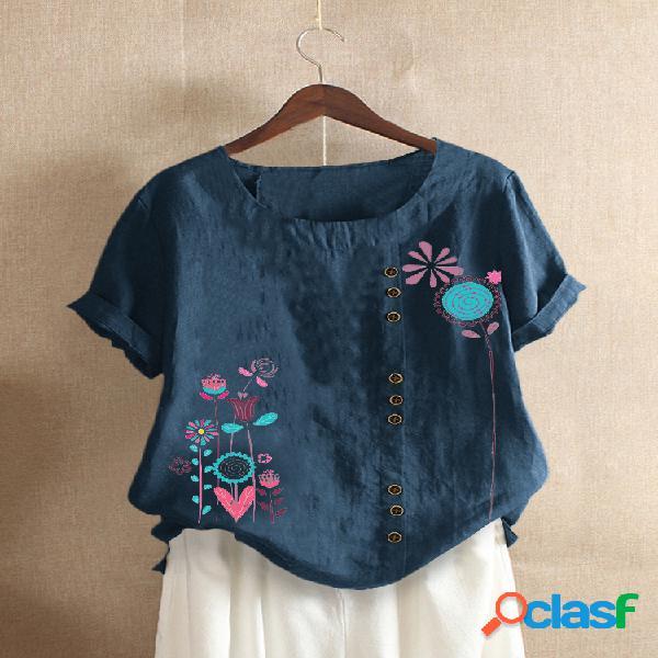 Camiseta com estampa floral de manga curta com gola o para mulheres