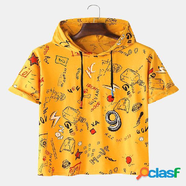 Camiseta masculina divertida padrão com capuz solto manga curta
