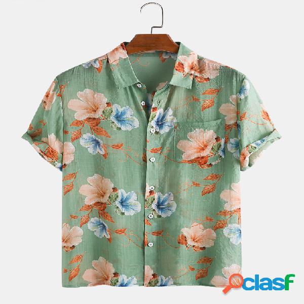 Estampa floral masculina leve respirável casual de férias camisa