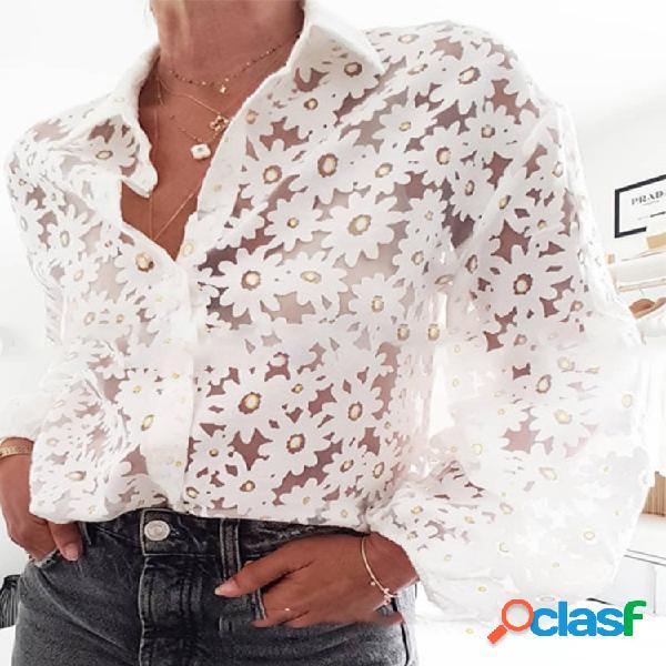 Manga comprida transparente floral camisa para mulheres
