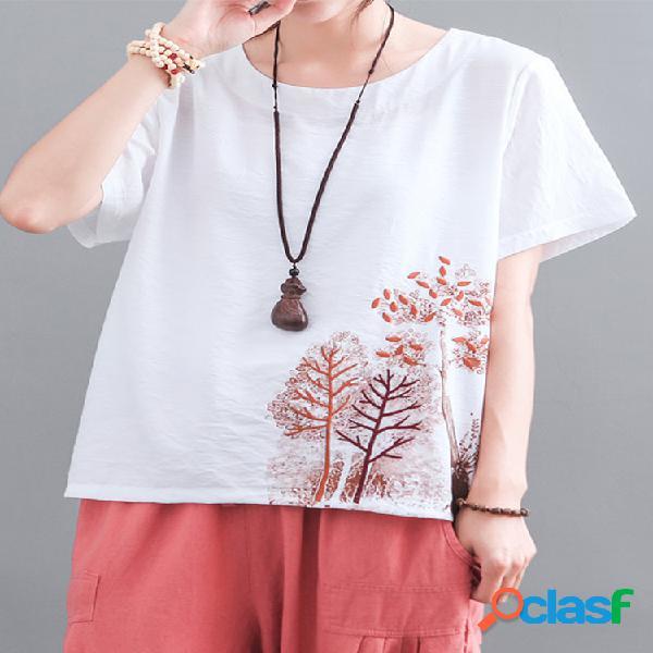 T-shirt solto de manga curta bordado floral para mulheres