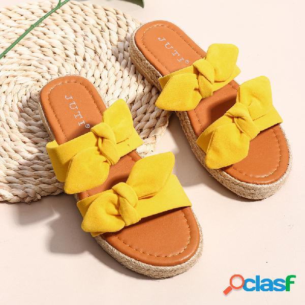 Tamanhos grandes sandálias de linho para mulheres
