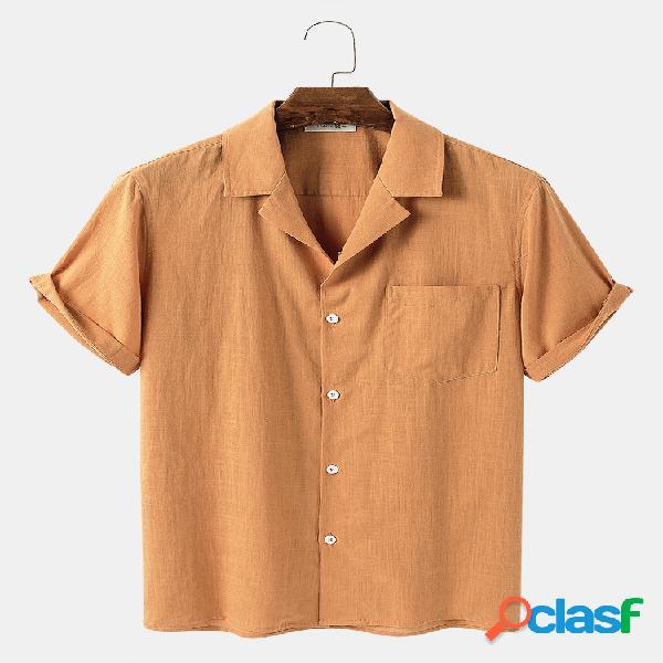 Baú de algodão masculino cor sólida com bolso casual feriado camisa