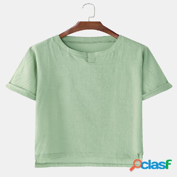 Homens algodão linho hem irregular sólido design casual home t-shirt