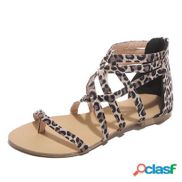 Tamanhos grandes mulheres clipe toe zippers sandálias planas