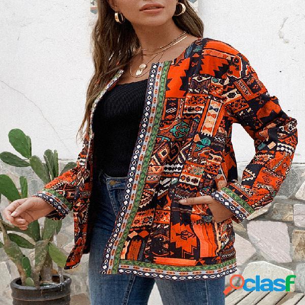 Jaquetas tamanho étnico estampado floral plus