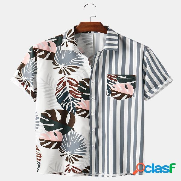 Mens patchwork listrada e planta estampa casual leve camisas de manga curta