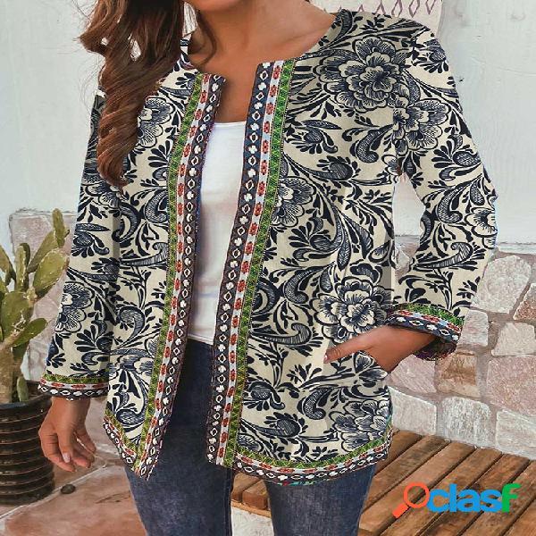 Jaqueta vintage de manga comprida étnica com estampa floral patchwork para mulheres
