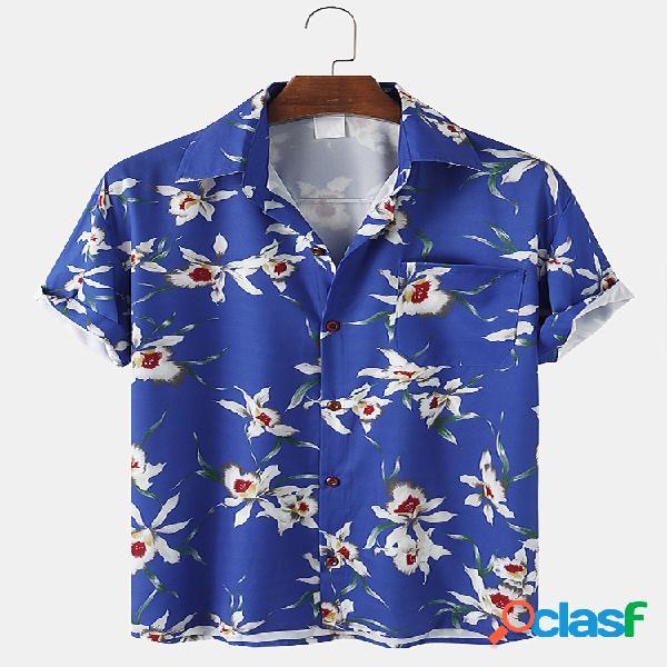 Mens allover floral imprimir casual light peito pocket camisas de manga curta
