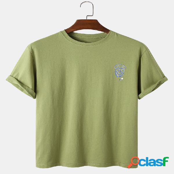 Mens cotton emojis print solid color respirável loose round neck t-shirts