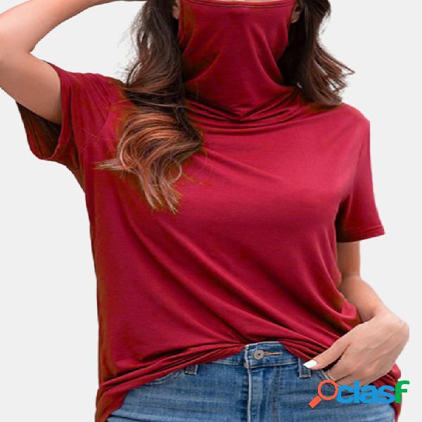 T-shirt casual multifuncional à prova de poeira com pescoço de tartaruga de manga curta