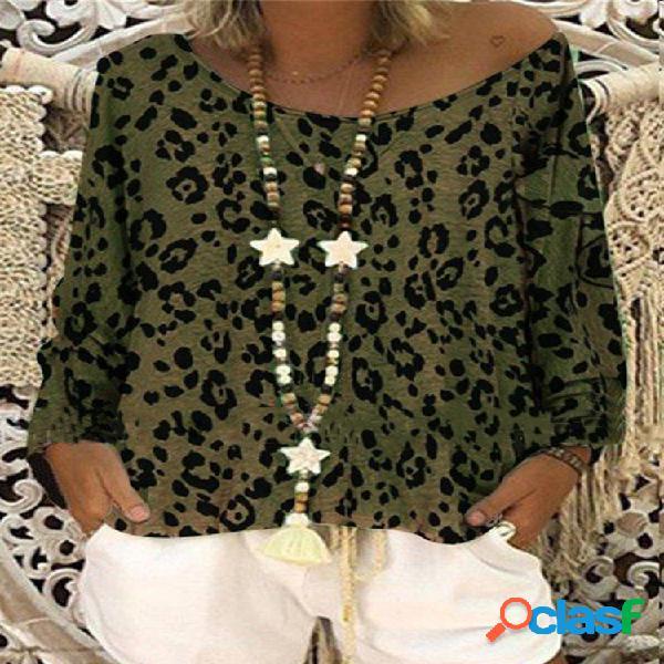 Blusa de manga comprida com estampa de oncinha e ombro para mulheres
