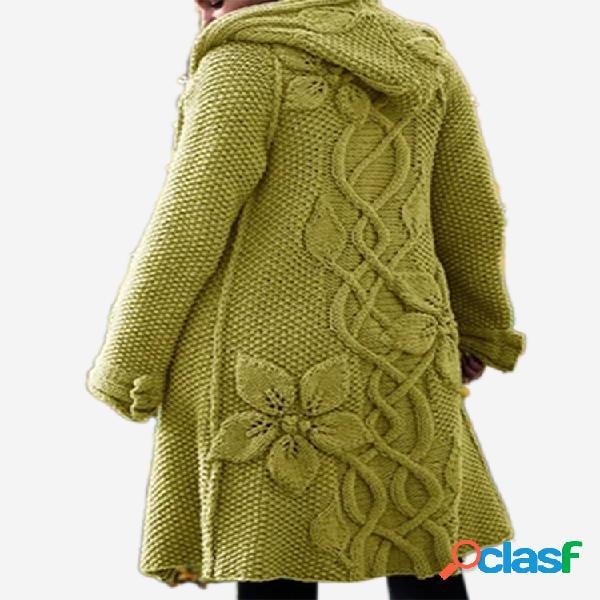 Cardigan de cor sólida flor com capuz manga comprida para mulheres