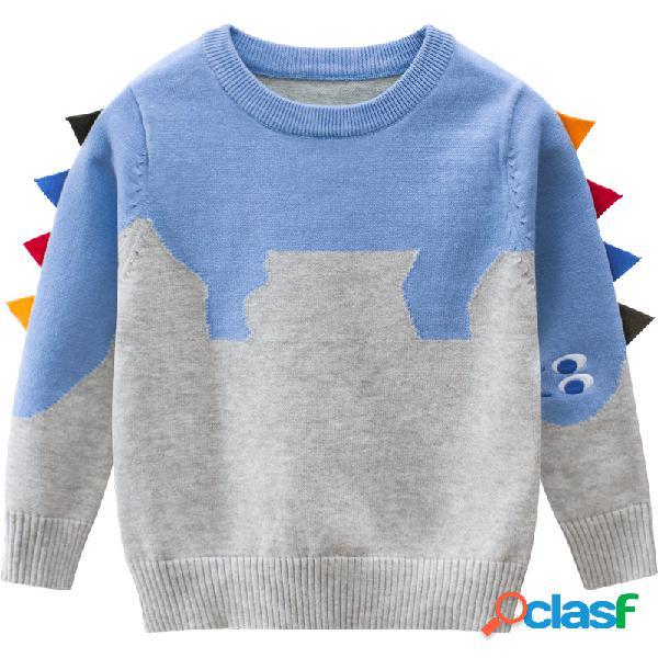 Meninas da criança e meninos dinossauro bonito casual outono inverno pulôver camisola para 2-11a