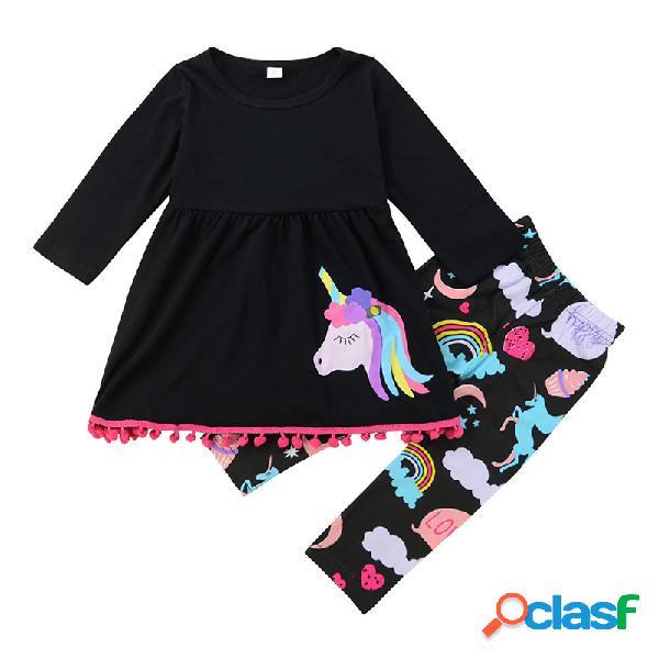 Meninas da criança unicórnio arco-íris padrão mangas compridas conjunto casual para 2-9a
