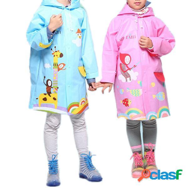 Meninas dos meninos e meninos dos desenhos animados colorful capa de eva engrossar com capuz para 3-15a