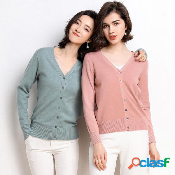 Mulheres de mangas compridas com decote em v malha cardigan seção curta seção fina cor sólida magro emagrecer