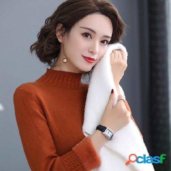 Pulôver de gola meia alta camisola quente feminina solta fina camisola de fundo