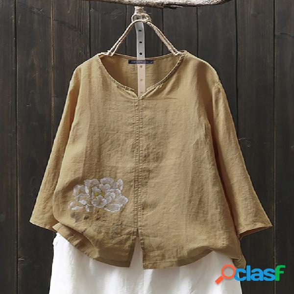 Blusa de algodão tamanho plus estampa floral dividida manga longa