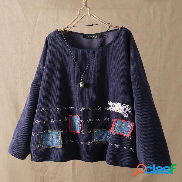 Blusa de manga comprida com patch bordado floral de veludo cotelê