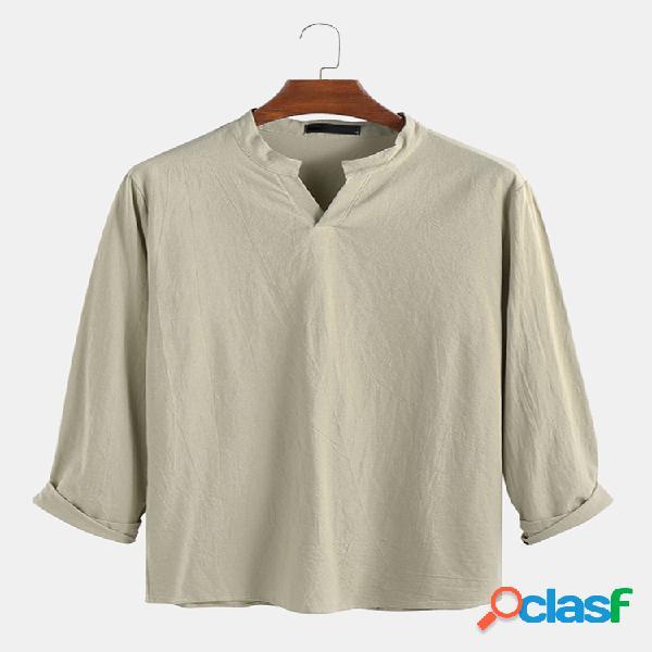Camiseta masculina vintage com colarinho maciço camiseta manga longa casual solta blusa camisetas tops