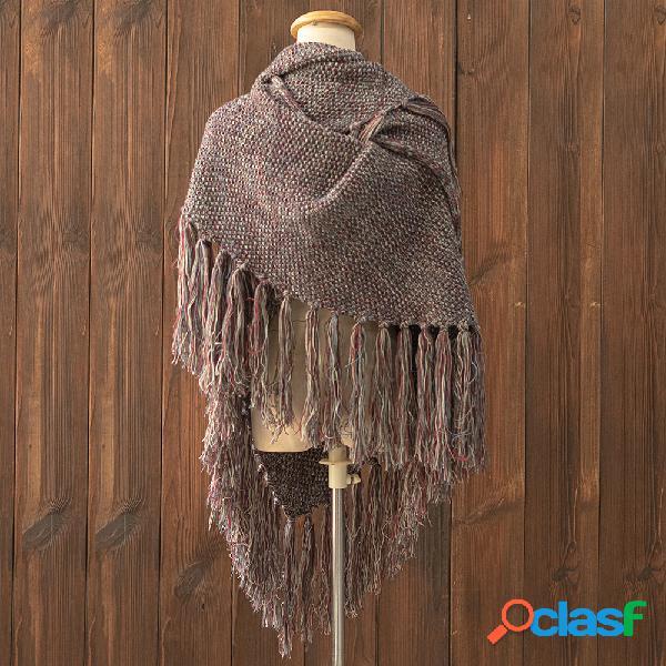 Cachecol das mulheres xale de malha bloco de cor cachecóis multicolor abotoado crochê inverno cachecol quente
