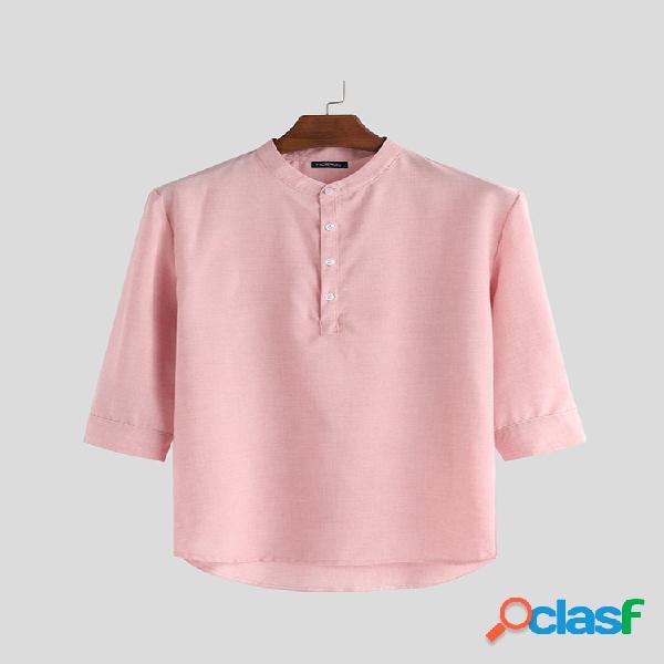 Camisa masculina manga 3/4 colarinho botão blusa pulôver casual camisas henley