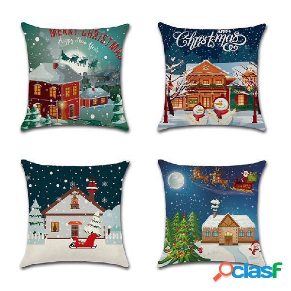 Capa de almofada de linho de linho do boneco de neve merry christmas, sofá doméstico, cadeira de carro para escritório, fronhas